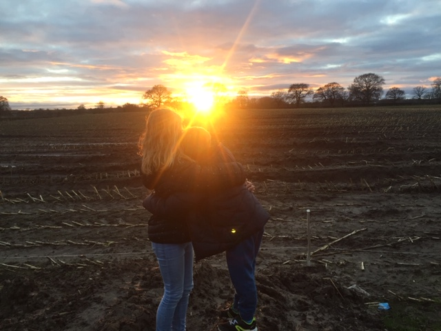 Children at sunset